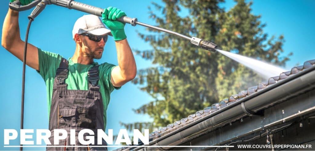 nettoyage toiture avec spray haute pression Perpignan